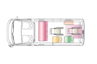 フレキシブルな車内レイアウトのイメージ